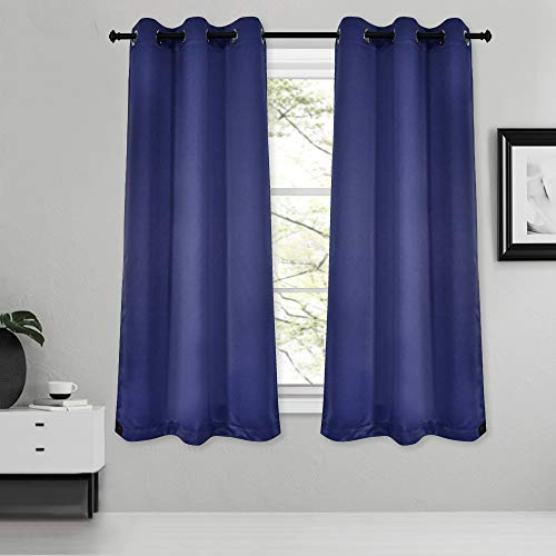 Inherent Flame Retardant Blackout Grommet Curtains Fire Resistant Room Darkening Thermal Insulated Drapes for Bedroom Living Room School Office Nursery Theater Hospital 2 Pack Blue 38Wx54L