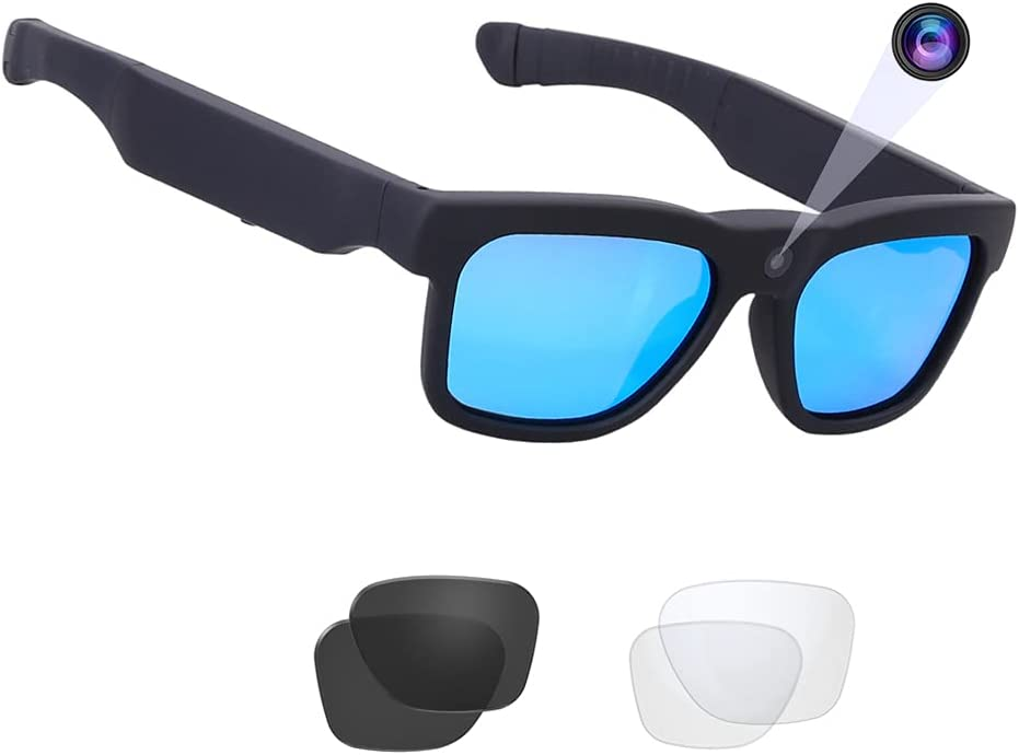 256GB WiFi Video Sunglasses, Live Streaming Videos & Photos from Glasses to Mobile Phone by App with Ultra Full HD Camera and Polarized UV400 Protection Sunglasses