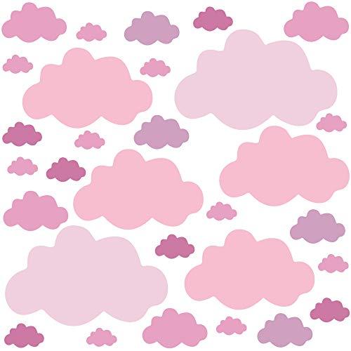 PREMYO 30 Nubes Pegatinas Pared Infantil - Vinilos Decorativos Habitación Bebé Niños - Fácil de Poner Rosa Pastel