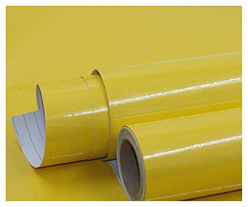 bandezid Vinilo Pegatina Muebles de Cocina Rollo Autoadhesivo Impermeable Papel Adhesivo para Muebles para Muebles Pegatina Vinilo Decorativos-Amarillo Perlado 60cm*20m