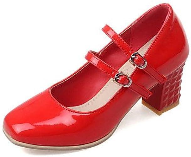 Zormey Chaussures Femmes Talon Square Toe Heels Office &Amp Carri¨¨re Noir Rouge Argent Rouge Us3.5   Eu33   Uk1.5   Cn32