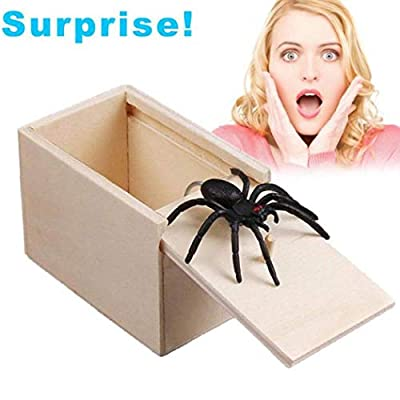 April Fool's Day Gift Wooden Prank Trick Practical Joke Home Office Scare Toy Box Gag Spider Kids Funny Gift