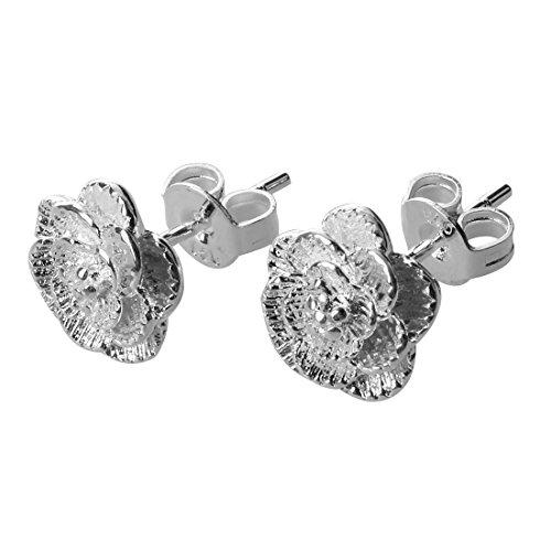 Gfhrisyty Pendientes Plateados de Plata de Flor romantica de joyeria para Mujeres