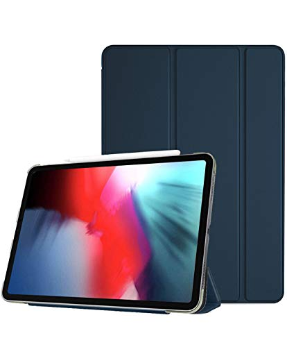 ProCase iPad Pro 12.9' Case 2018 3rd Generation, Slim Lightweight Trifold Stand Smart Cover with Translucent Frosted Back Protective Case for Apple iPad Pro 12.9 Inch 3rd Gen 2018 Release –Navy