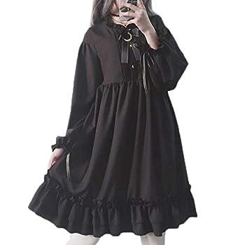 Packitcute Long Sleeve Dress Teen Girls Japanese Gothic Lolita Dress Black