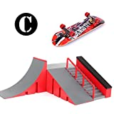Odowalker Skatepark for Finger Skateboard Skate Park Kit for Kid Toys Adult with Ramp Parts, Props, Handrail Stair Park (C)