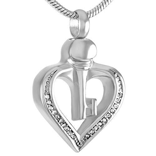 Memorial Asche Andenken Asche Urne Anhänger Urne Halskette Kristallschädel hohl Anhänger Halskette für Aschenbecher Edelstahl zum Gedenken an weibliche Mädchen