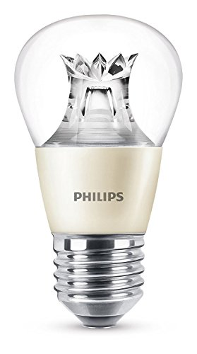 Philips bombilla LED esférica WarmGlow cristal, casquillo gordo E27, 6 W equivalentes a 40 W en incandescencia, luz blanca cálida regulable