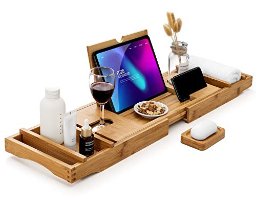 Bamboo Bathtub Caddy Tray with Extending Sides, Cellphone iPad Tray and Wineglass Holder,Free Soap Holder