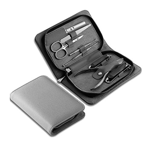 Manicure & Pedicure Kits Manicure Set, Pedicure Kit Nail Clipper Set 8pcs Professional Men Grooming Kit Stainless Steel Portable Travel Nail Kit Women(Brown) Nail Clippers Set (Color : Gray)