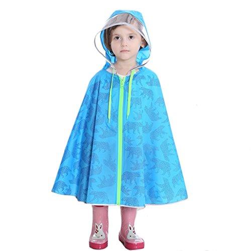 Regenmantel JCOCO Regen Cape Ponchos für Kinder, Mädchen, Jungen, Poncho Jacke mit Rucksack Position (Farbe : Blau, größe : S)