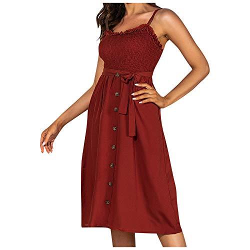 YANFANG Vestido de Tirante para Mujer, de Cintura Alta con Tirantes de Color sólido de Ocio de Vacaciones para Mujer, sin Mangas de Color sólido, Cierre la Cintura,Elegante, para Fiesta, M,Red