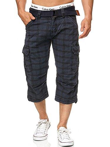 Indicode Herren Nicolas Check 3/4 Cargo Shorts kariert mit 6 Taschen inkl. Gürtel aus 100% Baumwolle | Kurze Hose Sommer Herrenshorts Short Men Pants Cargohose kurz für Männer Navy Check XL