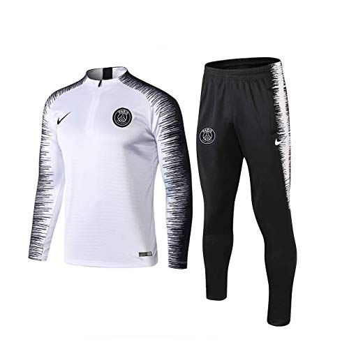 YXLD Paris Langarm-Sportbekleidung, Trainingsanzüge for Kinder Jugend Jogging Top & Pants Gym Kleidung Unisex Full Zip Trikot Trikots Teamswear Anzug (Color : White),L