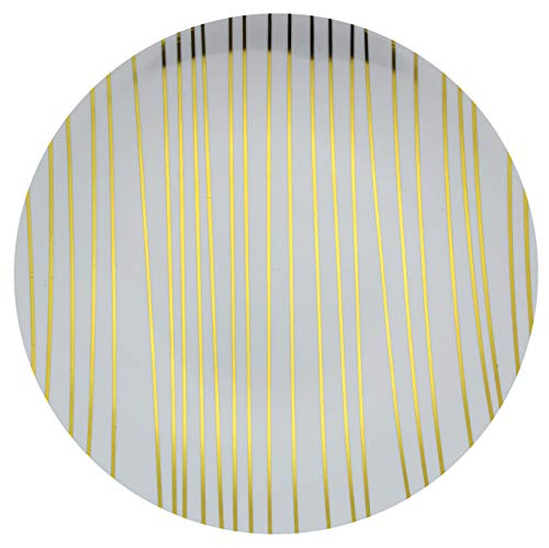 Trendables Premium 8 Inch. Disposable Plastic Plates, Food Grade Plastic Salad/Dessert Plates - Glam Design - 40 Pack
