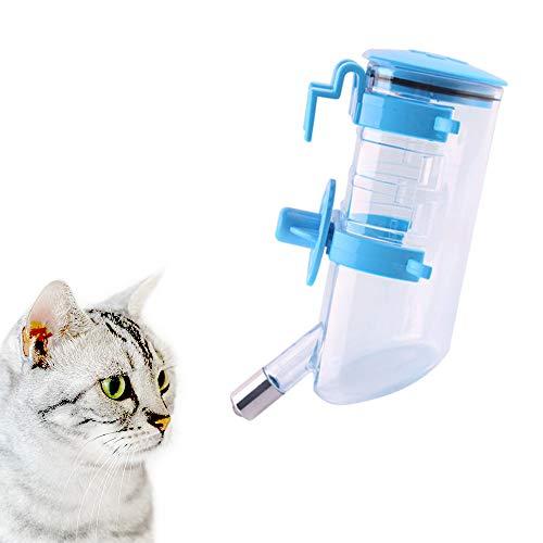 Andiker Wasserflasche zum Aufhängen, 600 ml, automatischer Wasserspender, tropffreie Wasserflasche für kleine und mittelgroße Hunde, Katzen (Blau)