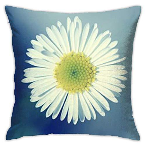 INGXIANGANCHI - Funda de almohada con cremallera, diseño de flores blancas, 18 pulgadas, decoración del hogar, sofá o dormitorio