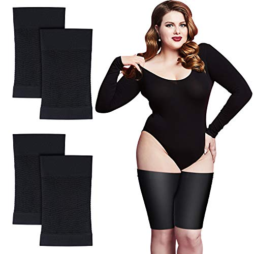 2 Pairs Thigh Wraps for Plus Size Women, Slim Thigh Calf Compression Sleeve Upper Slimming Thigh Wraps for Flabby Thigh