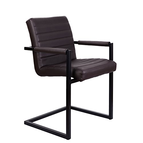 Feel Furniture -Conference Stuhl - Dunkelbraun - Schlankem Industriedesign mit hochwertigen Materialien: Büffelleder und Stahl. Elegantes Design...