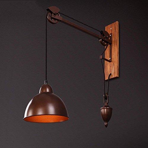 DSJ muur Pastorale retro persoonlijkheid lange arm van industriële wind touw hout wandlamp wandlamp wandlamp creatieve winkel