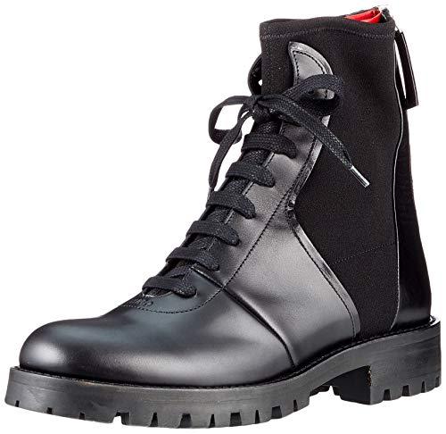 HUGO Damen Elettra Laceup B-Mix Mode-Stiefel, Black1, 35 EU
