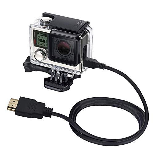Behuizing Shell Beschermende Cage Video 19 Pin HDMI naar Micro HDMI Kabel voor GoPro HERO4 /3+ /3, Sony, LG, Panasonic, Canon, Nikon, Smartphones en Camera's, Lengte: 1,5 m, Eenvoudig en handig in gebruik.