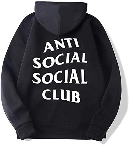 anti social social club felpa XINGENG Felpe con Cappuccio Pullover a Maniche Lunghe Anti Social Social Club (Nero