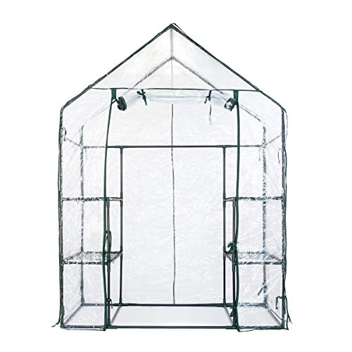 Serra 143x73x195 cm Mini Casetta da Giardino per Coltivazione Piante Domestica Metallo e PVC
