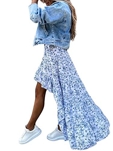 Mujeres Verano Boho Slim Fit Impreso Elástico Alto-Bajo Irregular Volantes Dobladillo Cintura Alta Swing A-line Falda de Playa Larga