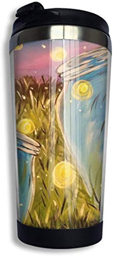 Perilla Fire - Taza de viaje de café con diseño de gusano brillante para coche, taza de té helado o botella de agua con aislamiento térmico de acero inoxidable para senderismo, camping, equitación o trabajo