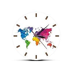 Rchhy Clocks for Seniors Unique Colorful World Map Wall Clock Silent Movement Modern Decorative Wall Watch Geometric Wall Art Housewarming Traveler Gift