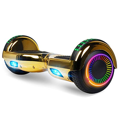 Felimoda Hoverboard, Self Balancing Hoverboard with LED Wheels and Lights (Gold)