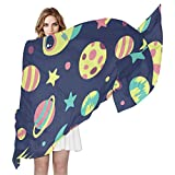 QMIN Bufanda de seda Rocket Earth Universe Planet Star moda largo ligero chal de vaina ordenada bufandas silenciador para mujeres y niñas