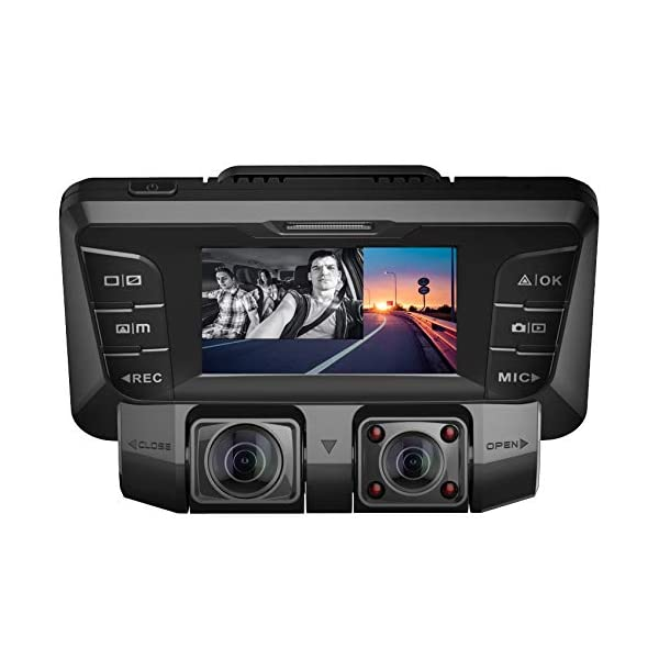 Pruveeo C2 Dash Cam with Infrared Night Vision, Dual 1080P Front and Inside, Dash Camera for Cars Truck Taxi