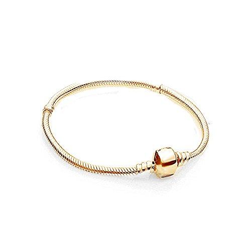 AKKi Charms Armband in Gold.Edelstahl Perle bettel Beads Bead Silber Original Strass kompatibel mit Pandora Style NEU 21cm