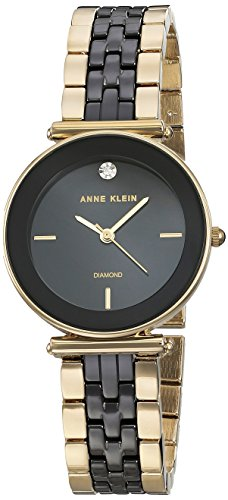 Anne Klein Women's AK/3158BKGB Diamond-Accented Gold-Tone and Black Ceramic Bracelet Watch