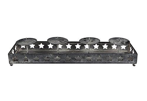 Sterne Kerzenhalter aus Metall ca. 40x10x7 cm für 4 Kerzen Deko Antik