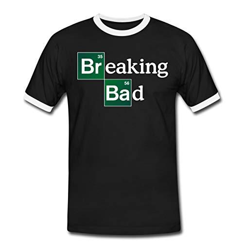 Breaking Bad Logo Brom & Barium Männer Kontrast T-Shirt, M, Schwarz/Weiß