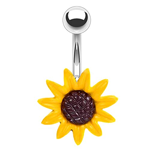 BodyJ4You Belly Button Ring Stunning Yellow Sunflower 14G Navel Banana...
