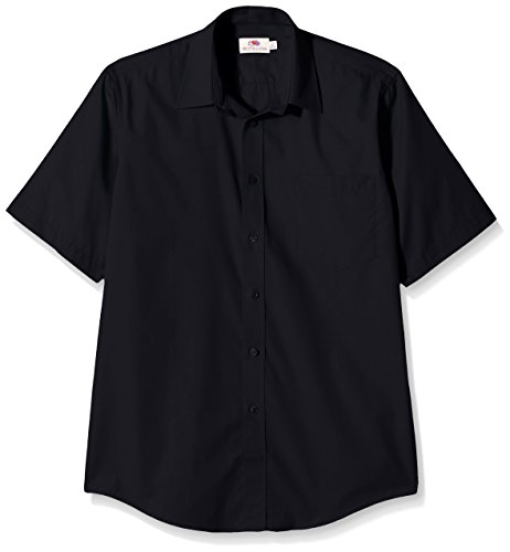 Fruit of the Loom Herren Poplin Freizeithemd, schwarz, XL