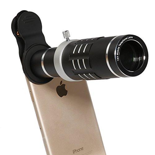 lanzuk RR-12-26-1 Phone Lens 18X Telephoto Lens High Definition Flexible Tripod Universal Clip for iPhone Samsung Most Smartphone (Black)
