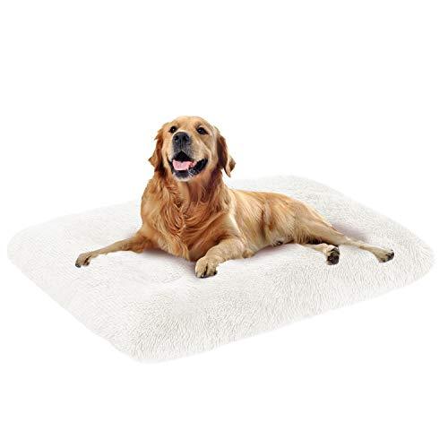 Mirkoo Hundebett, lang, Plüsch, bequem, Kunstfell, waschbar, Matte mit rutschfester Unterseite, für große und mittelgroße Hunde