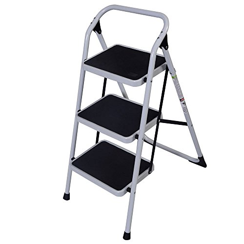 QCUTEP 3 Step Folding Step Ladder, Portable Step Stool Ladder, Short Handrail Iron Ladder with Anti-Slip Pedal for Household Market Office