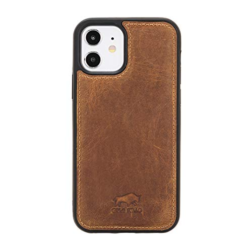Solo Pelle Lederhülle für das iPhone 12 Mini in 5.4 Zoll Stanford Hülle Leder Hülle Ledertasche Backcover aus echtem Leder (Camel Braun)