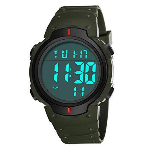 linjunddd Pantalla Estudiantes Reloj Led Digital Resistente Al Agua con Cuero Brazalete Grande Camisa Cara Militar Luminoso Cronómetro Verde Elegante Y Hermosa