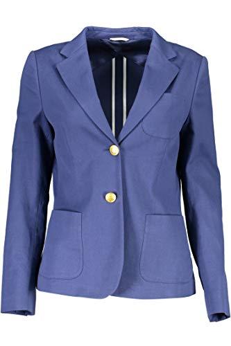 GANT Damen Blazer Baumwolle Jackett Unifarben Blau 40