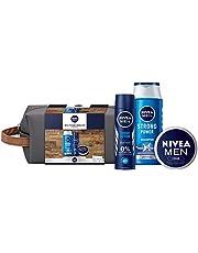 NIVEA MEN Weltenbummler Cadeauset, toilettas voor mannen met shampoo, deodorant spray en Nivea Men crème, reisset voor de verzorgde man