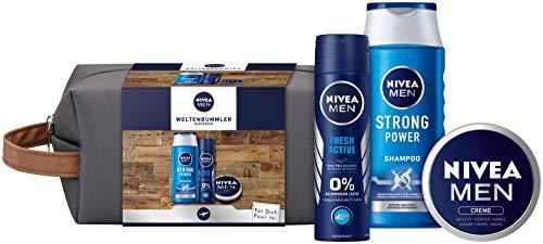 NIVEA MEN Weltenbummler Geschenkset, Kulturtasche für Männer mit Shampoo, Deo Spray und NIVEA MEN Creme, Reiseset für den gepflegten Mann