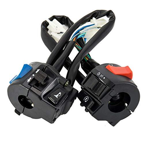 Esenlong Interruptor de Control de Encendido/Apagado de La Luz de La Bocina Del Interruptor Del Manillar de La Motocicleta de La Motocicleta 12V Universal