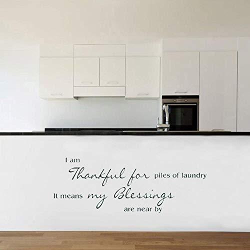 Wandsticker Waschküche Wand Zitat Zeichen Vinyl Aufkleber Aufkleber Badezimmer Dankbar Für Wäsche Segen Schriftzug Waschmaschine Trockner Tapeten